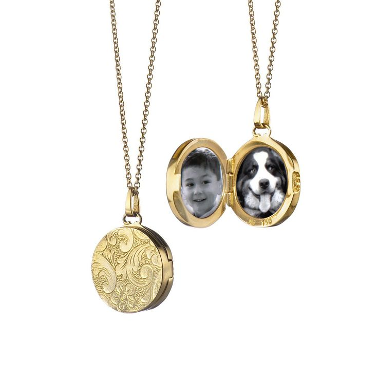 Small Round Floral Locket Pendant in Yellow Gold
