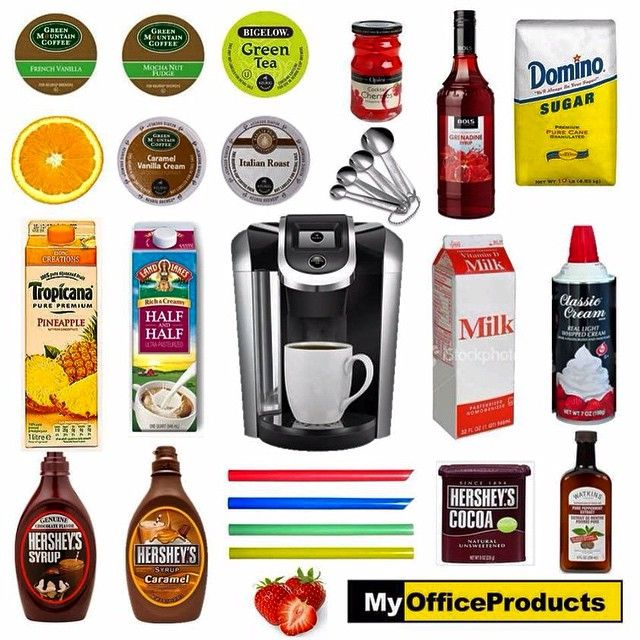 This is the Keurig essentials collection! You can get a free Keurig with a subscription through MyOfficeProducts! (Mention you saw us on Instagram!) Visit us at www.myopbrew.com ☕️ #myofficeproducts #myop #myopbrew #brew #greenmountaincoffee #coffee #frenchvanilla #mochanutfudge #mocha #greentea #tea #cherries #caramelvanillacream #italianroast #grenadine #sugar #domino #orange #orangeslice #pineapple #halfandhalf #milk #whippedcream #chocolatesyrup #caramelsyrup #cocoa #peppermintextract…