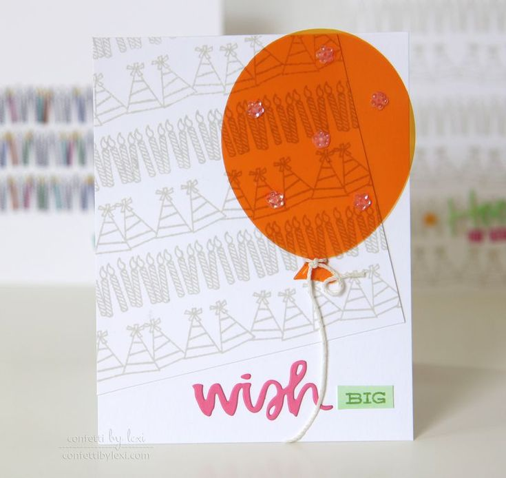 stamp a simple party background and wish big on an orange balloon!!