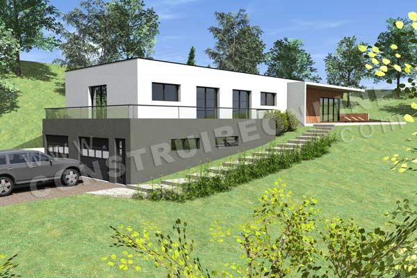 Photo maison contemporaine sur terrain en pente terrain for Plan maison contemporaine bbc