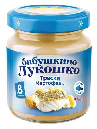 Пюре Бабушкино Лукошко треска-картофель, 100 г  — 47р. --------- Детское питание «Бабушкино Лукошко» разработано с учетом передовых тенденций в области нутрициологии и полностью отвечает всем требованиям педиатрии. Изготовленное на основе натуральных продуктов, оно имеет оптимально сбалансированный состав, что позволяет получить не только вкусный, но и полезный продукт. Треска содержит полиненасыщенные жирные кислоты (Омега - 3), большое количество витаминов: А, D, витаминов группы В…
