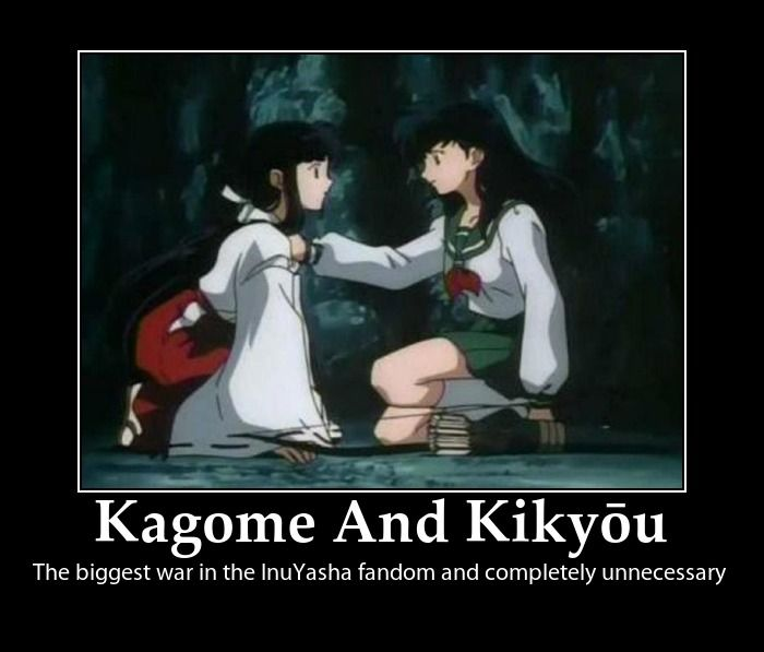 InuYasha Motivational - Kagome And Kikyo by InuBabyyy on DeviantArt  I agree. Kikyou is great, so is Kagome. Both for different reasons. Inuyasha loves them equally for different reasons. Fighting over who's better is redundant and annoying.