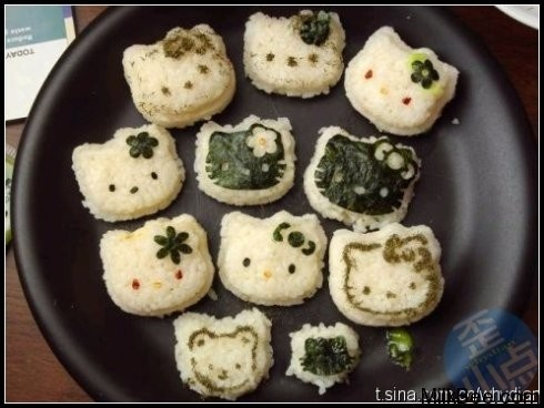 Hello Kitty rice balls! http://www.bossnotin.com/household-Living-hobbies-novelties-party-sports-fitness-kitchen-dining-bedding-bath-garden-landscaping/Kitchen-Dining/Hello-Kitty-Rice-and-Egg-Mold