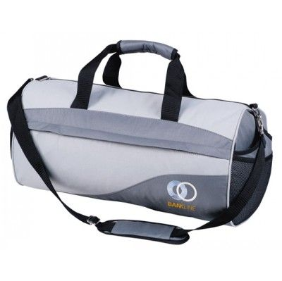 Roll Sports Bag. 600 Denier Nylon. Main compartment with zip closure, Large front zippered pocket, Large mesh pocket on each end, Adjustable and detachable shoulder strap with carry handle Print Area: Top Panel: 14cm (W) x 7cm (H), Front Panel: 12cm (W) x 7cm (H). Colours: Grey/Steel, Khaki/Black, Pink/Hot Pink. Sizes: 50cm (W) x 26cm (H) x 26cm (D). (G1616_GRACE)