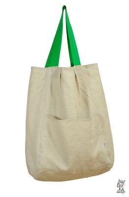 Lniana torba ekologiczna XXL - beżowa // Barbórka Dizajn