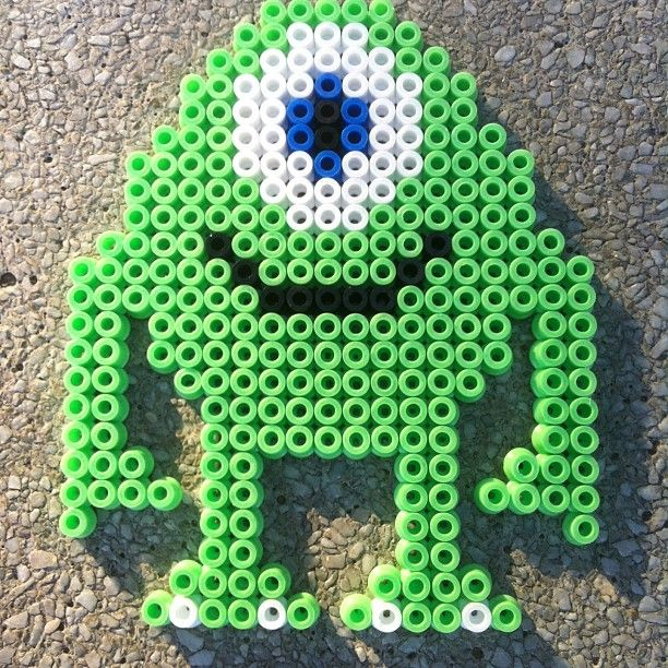 Mike Monsters Inc perler beads by funwithbeadz