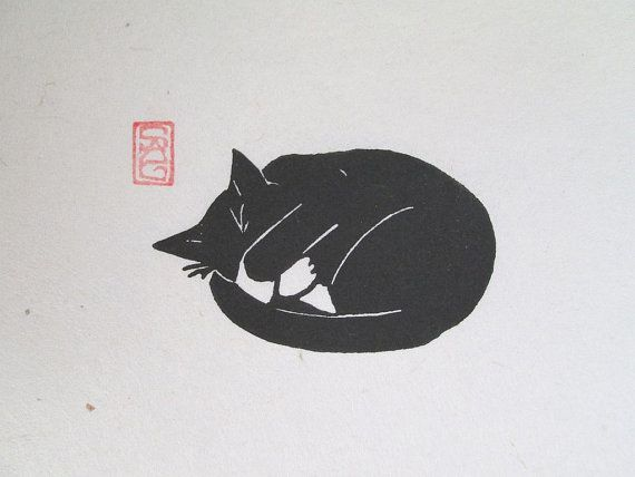 "wasbella102: Black Cat Lino Print Peat Weasel Takes a Nap by OniOniOni-- I love the ""my-nose-is-cold"" pose."