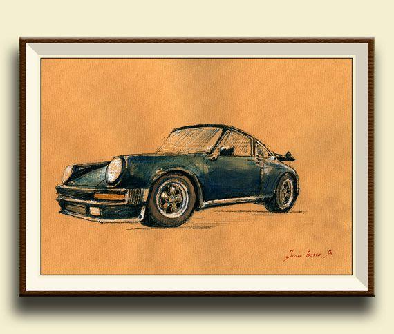 "PRINT-Porsche 911 930 turbo - Porsche classic - print watercolor painting art wall car decal auto Porsche - 8x11"" - by Juan Bosco"