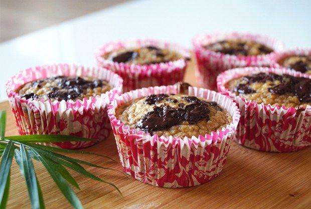 glutenvrije muffins met banaan en chocolade