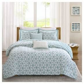 The Karina Collection creates an organic look for your modern space. The dusty aqua base gives a pop to this white geometric pattern and is reversible for an added look in your space. Printed on 200 thread count cotton, this set includes a reversible duvet cover, two reversible shams and two decorative pillows.