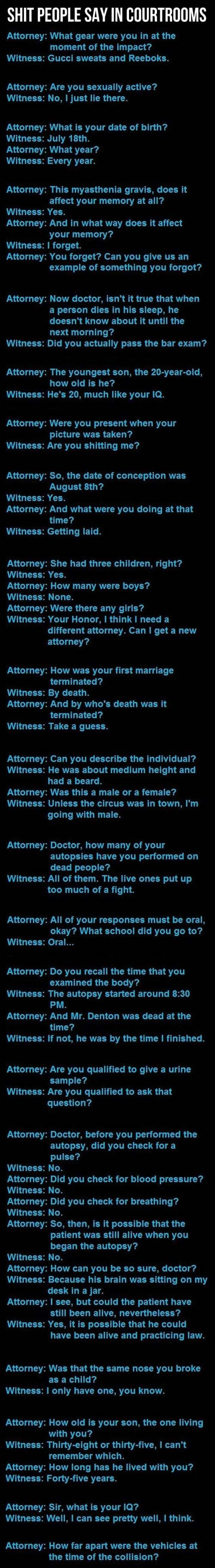 Dumb things people say in courtrooms. Oh gosh hahahahaha  I can only imagine. . .