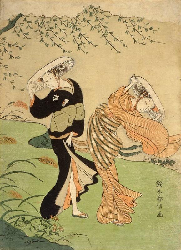 """""""Two girls in high wind"""", by Suzuki Harunobu, 1767, Japan"""