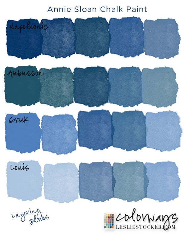 The Moody Blues | Colorways  Layering different chalk paint blues gives depth to a blue finish www.LeslieStocker.com