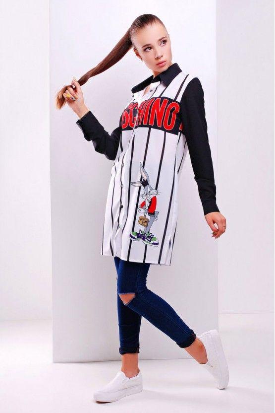 Moschino рубашка Марена д/р принт-черная отделка длинная женская рубашка с модным принтом Moschino