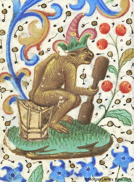 Monkey, wearing hat, seated on stool and holding club in right hand | Book of Hours | France, Paris | ca. 1460 | The Morgan Library & Museum