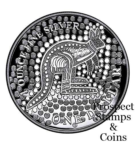 2001 Kangaroo 1oz Silver Proof Coin  The Royal Australian Mint has been releasing this series of coins for many years and has proven to be popular amongst coin collectors all over the world. The Silver Kangaroo coin have a different design each year, 2001 to 2003 the theme was on Aboriginal artist and dreaming. The 2001 coin was awarded an International design trophy as the worlds 'Best Crown' coin.The 1oz pure Silver Kangaroo coins are minted in 99.9% pure silver.