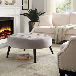 $220.49 Dimensions:17.5 Inches High x 36.5 Inches Wide x 36.5 Inches Deep Lydia Velvet Tufted Cocktail Ottoman | Overstock.com Shopping - The Best Deals on Ottomans