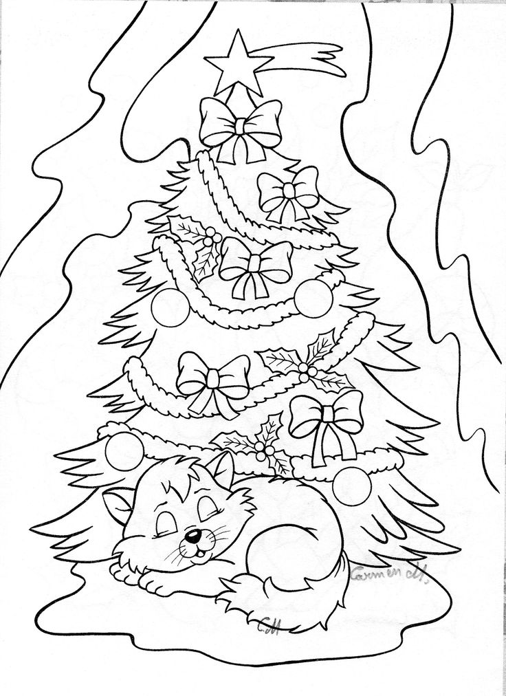 Christmas Tree and Kitten Drawing