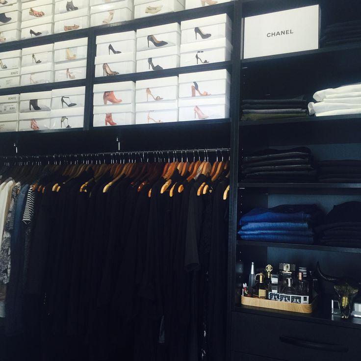 Walk-in robe, black fine grain cabinetry