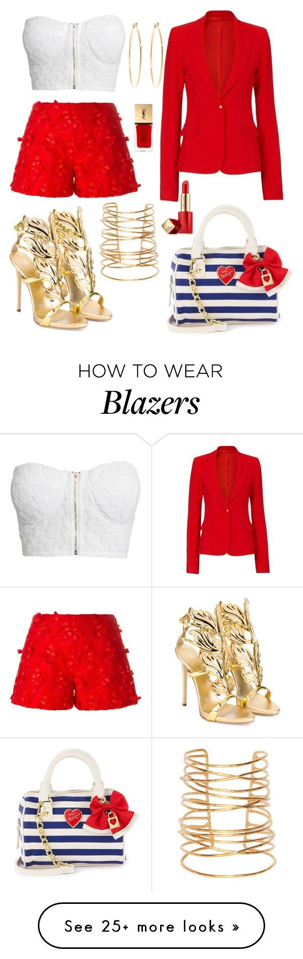 """Fashion Red/Gold Beach Summer 2016"" by diamondanna on Polyvore featuring Giamba, Rebecca Taylor, Brooks Brothers, Giuseppe Zanotti, Etienne Deroeux, Estée Lauder, NLY Trend and Yves Saint Laurent"