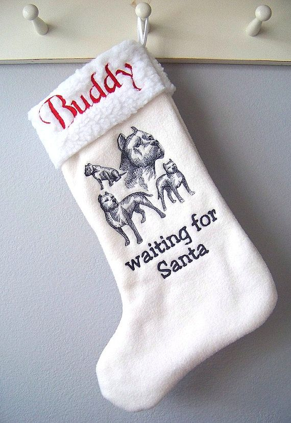 Pit Bull Christmas Stocking   Personalized by Madeit4u on Etsy, $20.00