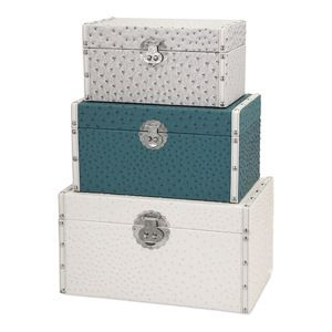 Benzara - Claire Trunks, Silver, Teal, and White - Decorative Trunks