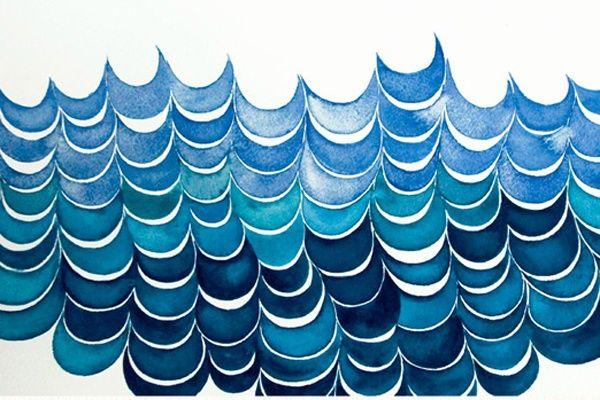 Serena Mitnik-MillerInspiration, Pattern, Blue, Watercolors, Serena Mitnikmil, Art, Ocean Waves, Serenamitnikmil, Serena Mitnik Mil