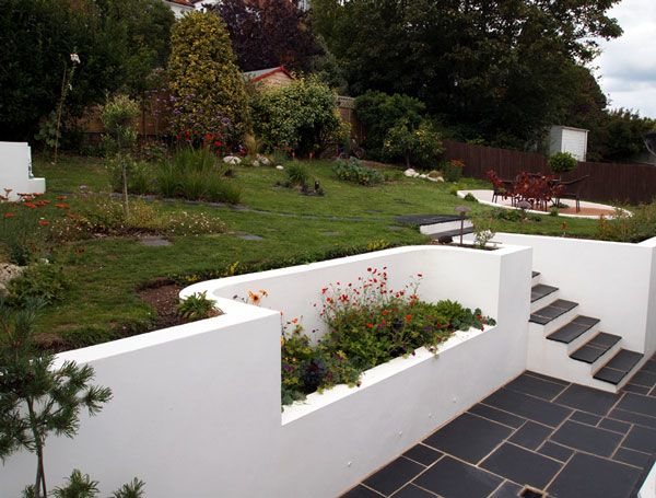 Rendered wall and slate tiles garden pinterest for Rendered garden wall designs