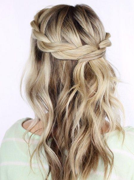 Crown Braid Medium Hair Wavy Just Below The Shoulder Hair