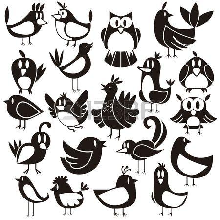 Een leuke vector set van 20 cartoon vogels Stockfoto