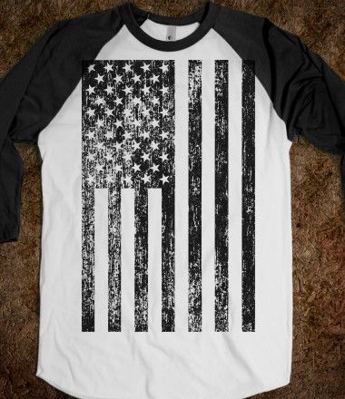 American Flag Black and White T-Shirt