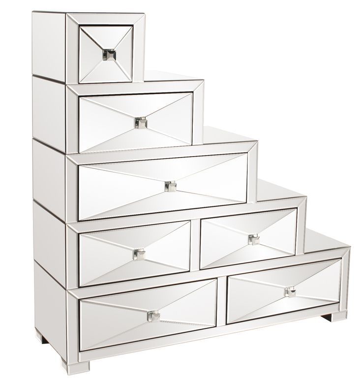 moselle mirrored stepped drawers howard elliott home gallery stores mirrored - Mirrored Dresser Cheap