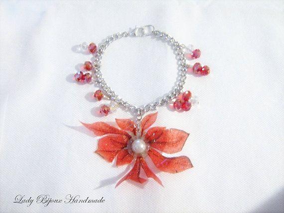 Braccialetto bracciale con ciondolo fiore di LadyBijouxHandmade