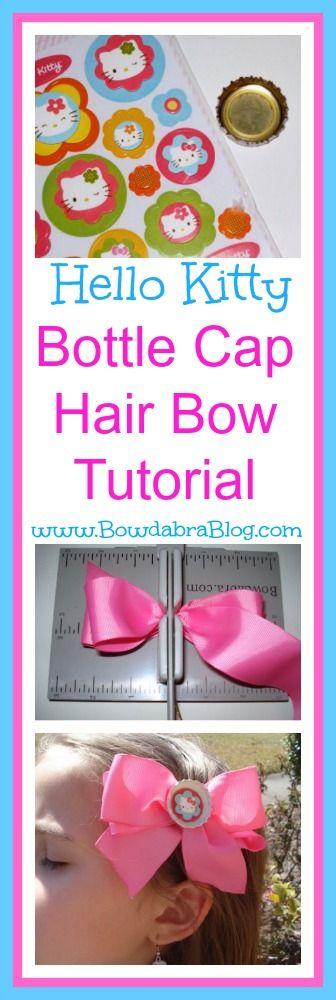 Hello Kitty Bottle Cap Bow Making Tutorial