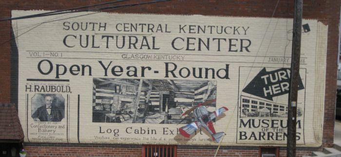 At the South Central Kentucky Cultural Center you can learn how the people of the Barrens have lived over the years. Group tours are available and we are wheel chair accessible  Two stories of history are housed in the Cultural Center. You will be amazed at the displays and historical memorabilia. .200 West Water Street Glasgow, Kentucky 42141 Phone: 270.651.9792 Open Year Round Monday - Friday 9:00 AM to 4:00 PM  Saturday 9:00 AM to 2:00 PM CDT