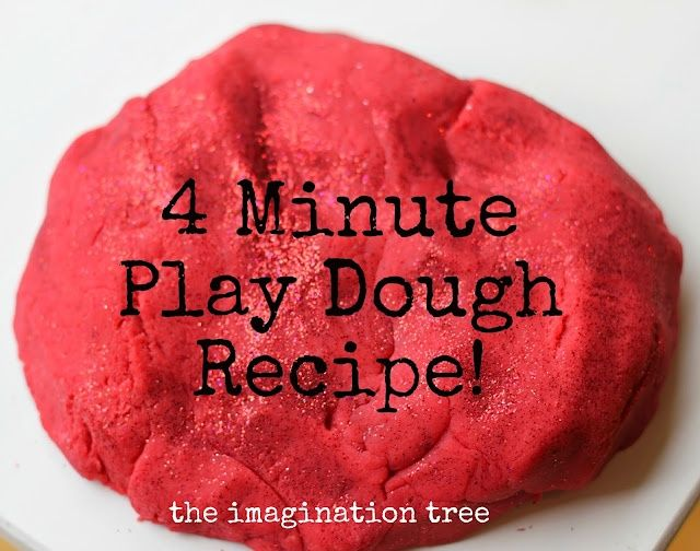 Best ever 4 minute no-cook play dough recipe! I use it all the time at my school, with one cup of salt to two cups of flour. Lasts up to 3 months in a sealed container or air-tight plastic bag.