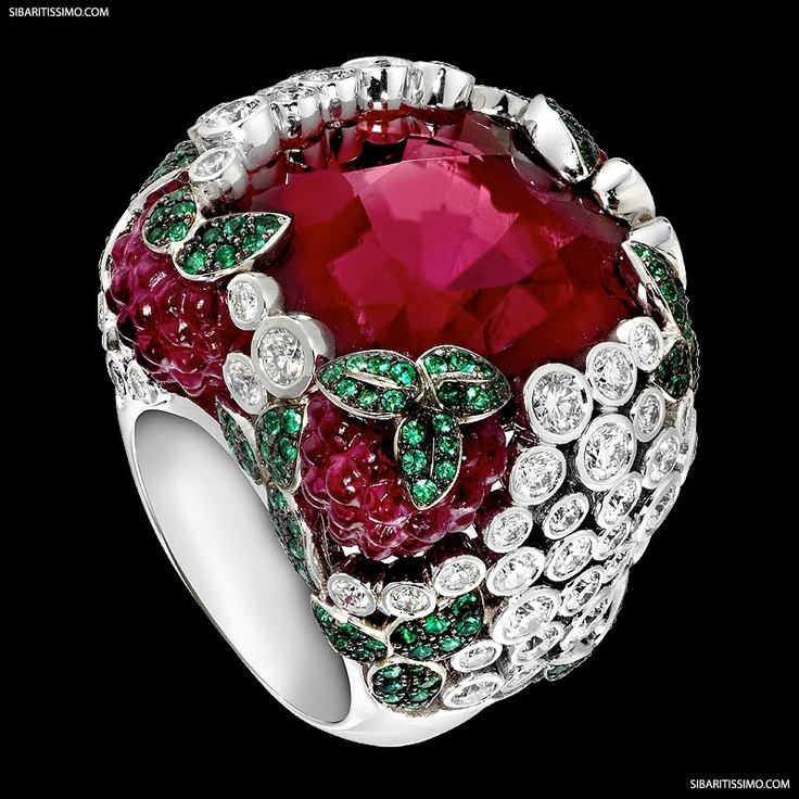 """Piaget / Cocktail-Inspired Creative Collection. """"Raspberry Daiquiri"""" - white gold, rubellite, emeralds and diamonds"""