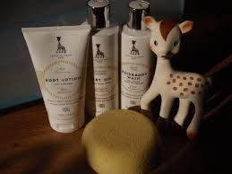 """Sophie la girafe Baby -range review in Dancing in my wellies -blog in UK  """"makes our bath time smell fabulous and leaves skin super soft"""" !http://dancinginmywellies.com/parenting/luxury-baby-bath-time-essentials/"""