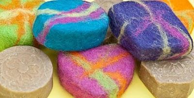 Vilten zeepjes maken, kinderfeestje