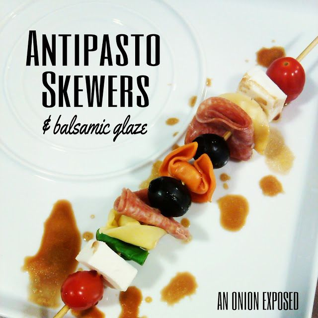 Antipasto Skewers w/balsamic glaze {An Onion Exposed}