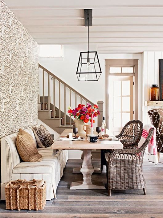mixed wood tones bhg...good visual for a table and settee up against a wall and not floating in center of room.