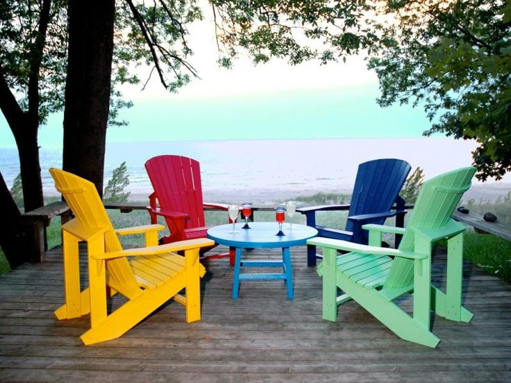 Colorful Chairs | Colorful Recycled Plastic Adirondack Chairs On Deck