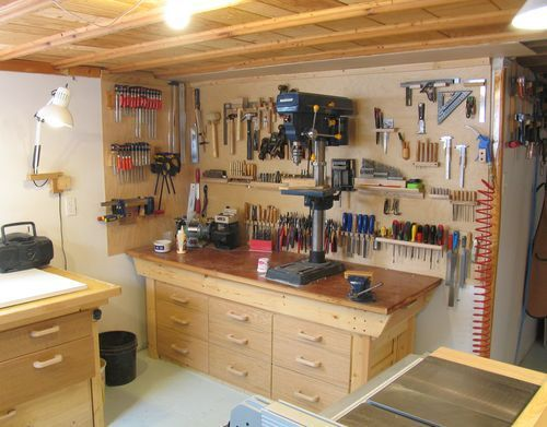 Basement workshop.  I have a basement just like this one, but yet not like this one...