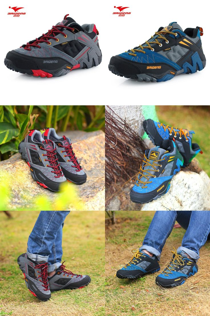 [Visit to Buy] NEW Brand Baideng all seasons men hiking shoes breathable Camping shoes 3 colors leather climbing shoes zapatos de senderismo #Advertisement