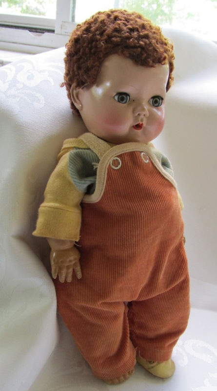 Tiny Tears America character baby doll c. 1950's, with caracul wig. These dolls were produced from 1950 through to 1968, and were immensely popular.