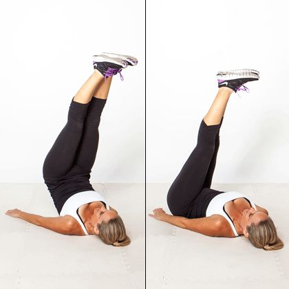 Mastered the reverse crunch? Try the even harder lift & twist.