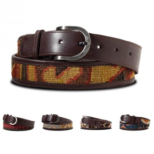 Kilim Belts - each one is hand made using old kilim which is lined and trimmed with soft leather, the patterns and colours vary so that each belt is unique.