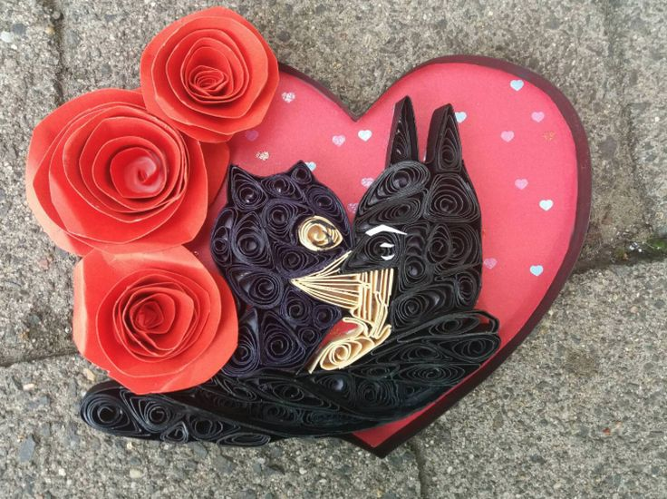 Quilled Paper Art/ Batman Catwoman Kiss/ DC COMICS/ Couples Gifts/ Gifts for him/ Selina Kyla Kiss/ Comic book art/ Quilling/ Wedding gifts by WindsweptQuilling on Etsy
