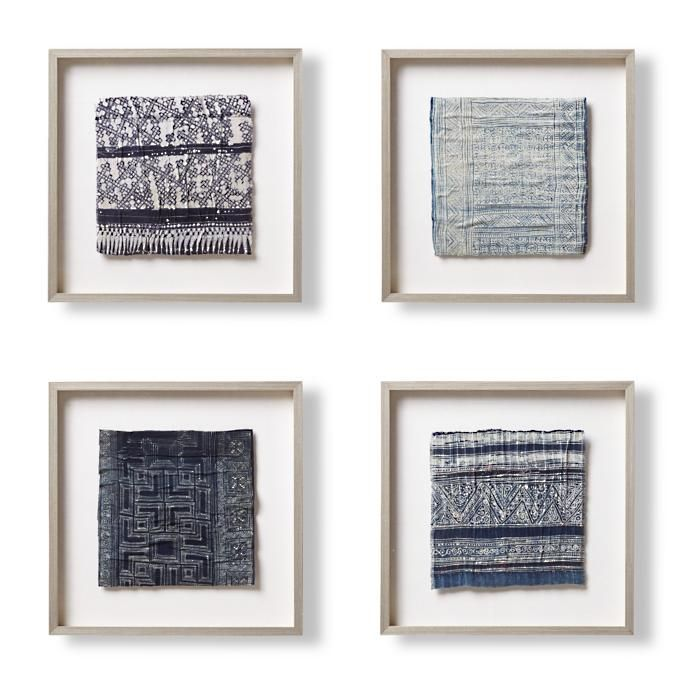 Hmong Framed Textiles Set Of Four Frontgate Textile Wall Art Framed Fabric Frame