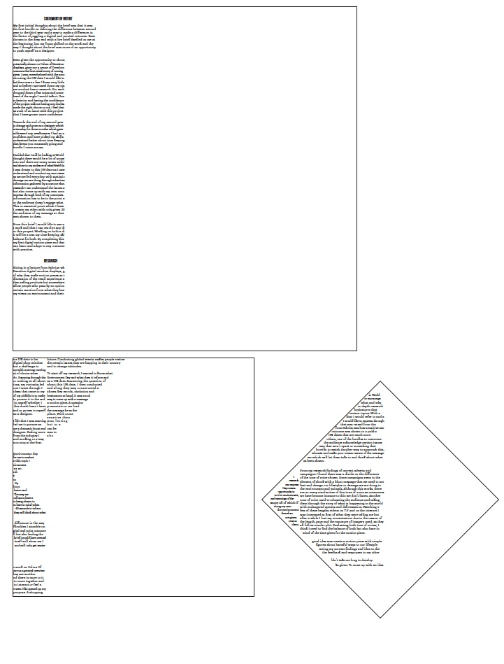 A mock print test showing each square when its not assembled together. The text acts as a guide where to put the pieces of paper together with the text making an outline of each shape.